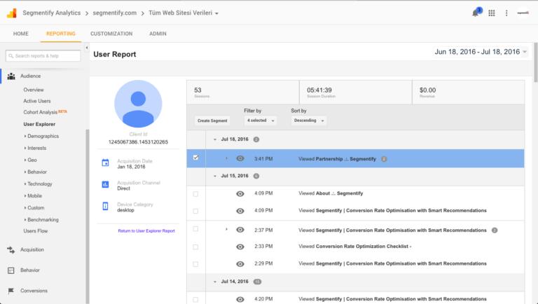Google Analytics Conversion Optimization with User Explorer