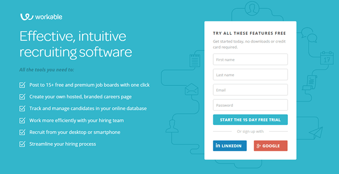 workable landing page example